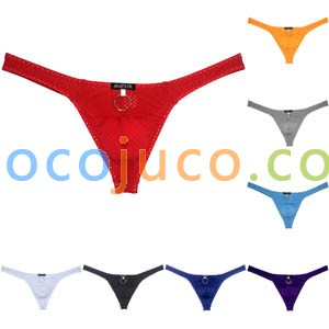 Men's Low-rise Thong Underwear With Stainless Steel Ring Breathing Hole Bulge Underpants