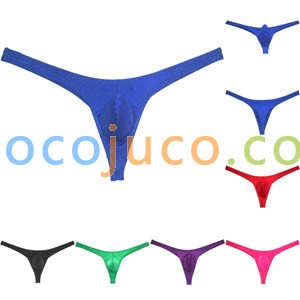 Men's Glossy Thong Underwear Stretchy Ice Silk T-back Hipster Enhance Pouch Tangas