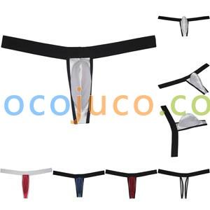 Men's Contour Pouch Thong With Wide Belt Underwear Shiny Bikini Jockstrap Shorts