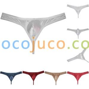 Men's Low Rise Contour Bulge Pouch Thong Underwear Shiny Bikini Jockstrap String Tangas