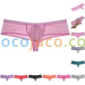 Men's Organdy Cheeky Boxers Thong Underwear Shiny & Soft Brazilain Bikini Briefs