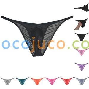 Men's Glass Yarn Underwear Organdy Pants Sheer Cheeky Briefs Slip Hombre Sissy Bikini Briefs
