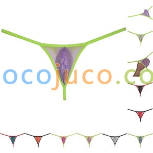 Men's Sheer Underwear Pouch T-Back Organdy Tangas Glass Yarn Bikini Thong Silky Thin G-String