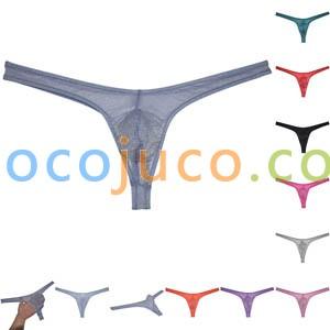 Sexy Men's Sheer Glass Yarn Bikini Thong Underwear Pouch T-back Organdy Tangas