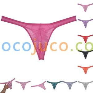 Men's Sheer Glass Yarn Pouch Thong Underwear See-through G-string Swim Tangas