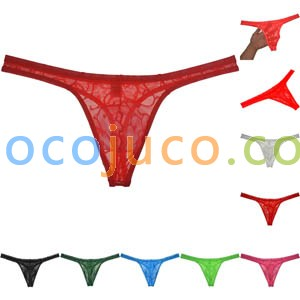 Men's See-through Jacquard Lace G-string Breathable T-back Bright colours shining Underwear