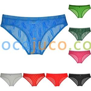 Men's See-through Lace Bikini Briefs Jacquard Pouch Bodybuilding Cheeky Underwear