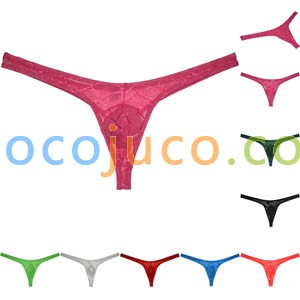 Men Pouch G-string See-through Mesh T-back bright Jacquard Weave Bikini Thong Underwear