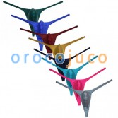 Men's Gorgeous pure color Pouch Thong Bulge Underwear Shiny Bikini